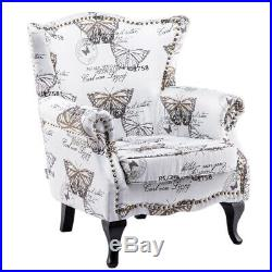 Countryside Butterfly Velvet Armchair Wing back Accent Chair Sofa Lounge Bedroom