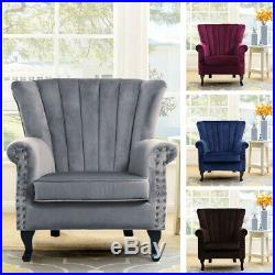 Crushed Velvet Armchair Tub Chair Lounge Wing Back Sofa Seating Living Room
