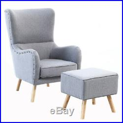 Curved High Back Winged Chair Occasional Lounge Tub Sofa Armchair with Footstool