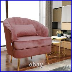 Curved Velvet Wing Back Chair Armchair Accent Sofa Pink Occasional Home Bedroom