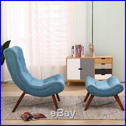 Curved Wing Back Egg Chair Recliner Fireside High Back Sofa Armchair & Footstool