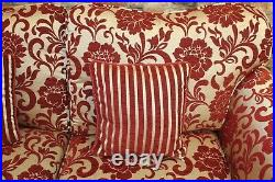 Dfs Colman 3 Seater Sofa & Wing Chair In Red & Gold Fabric