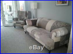 Dfs sofa and Wing Back Chair, Grey Patch Fabric