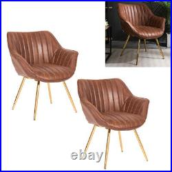 Distressed Tan Chesterfield PU Leather Armchair Wing Back Lounge Tub Chair Sofa