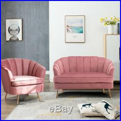 Dusty Pink Velvet Shell Chair Tub Wing Back Armchair 2 Seater Sofa Couch Settee