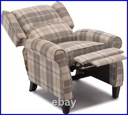 Eaton Wing Back Fireside Check Fabric Recliner Armchair Sofa Chair Reclining