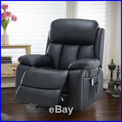 Electric Heated Massage Recliner Wing Leather Soft Armchair Reclining Sofa Chair