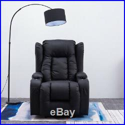 Electric Leather Auto Recliner Massage Heated Gaming Wing Sofa Chair Cinema Home