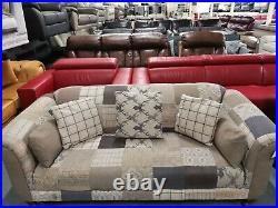 Ex-display Montagu patchwork fabric 2 seater sofa and wing back chair
