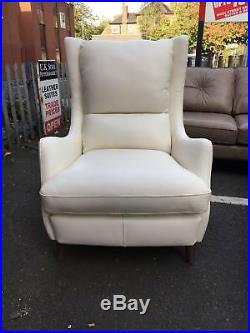 FABB SOFAS Of London Tall Wing Back Chair White 100% Leather