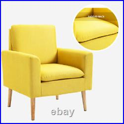 Fabric Armchair Occasional Accent Chair Lounge Tub Single Sofa Yellow Wing Back