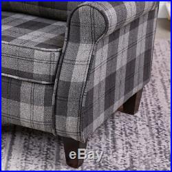Fabric Armchair Sofa Upholstered High Back Wing Chair Occasional Tartan Seat