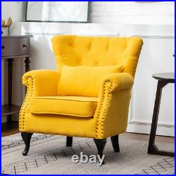 Fabric Armchair Upholstered Button Wing Back Living Room Fireside Sofa Chair