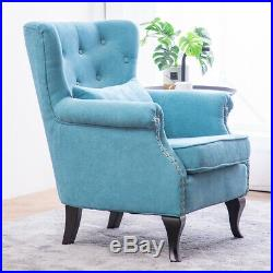 Fabric Chesterfield Wing High Back Armchair Sofa TUB Chair Lounge Teal Blue Seat