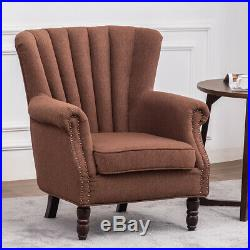 Fabric Linen Armchair Wing Back Occasional Accent Tub Chair Fireside Sofa Lounge