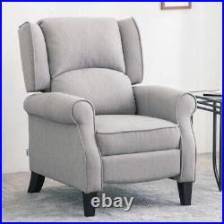 Fabric Recliner Armchair Occasional Wing High Back Chair Grey Sofa Sleeper Seat