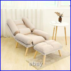 Fabric Recliner Chair Sofa Wing Back Fireside Occasional Armchair With Footstool
