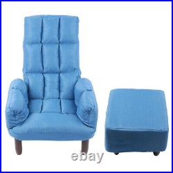 Fabric Sofa Accent Soft Chair Wing Back Footstool Lounge Armchair With Small Stool
