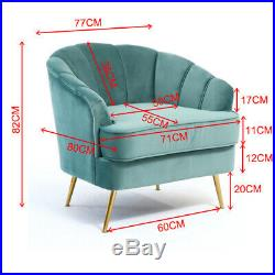 Fabric Sofa Velvet 2 Seater+Armchair Wing Scallop Back Tub Chair Sofa withGold Leg