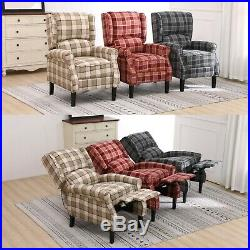 Fabric Tartan Check Wing Back Recliner Upholstered Armchair Accent Sofa Chair