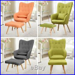 Fabric Upholstere Wing Back Chair Armchair Living Room Single Sofa Footstool Set