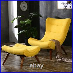 Fabric Upholstered Accent Tub Chair Wing Back Lounge Chairs Sofa Match Footstool