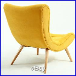 Fabric Upholstered Concave Accent Tub Chair Seat Wing Back Lounge Sofa Footstool
