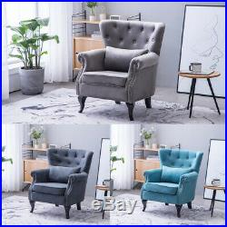 Fabric Velvet Chenille Wing Back Armchair Chesterfield Tub Sofa Lounge Chair NEW
