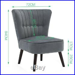 Fabric Velvet Occasional Chesterfield Wing Chair High Back Shell Sofa Armchair