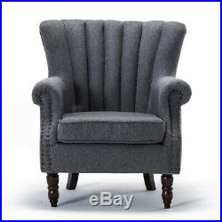 Fabric Vintage Armchair Wing Back Accent Chair Lounge Seat Grey Occasional Sofa