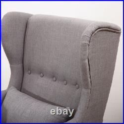 Fabric Wing Back Upholstered Armchair with Footstool Cushion Fireside Sofa Chair