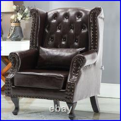 Faux Leather Chesterfield Sofa Chair Armchair Wing Back Queen Anne Button Tufted