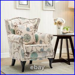 Floral Fabric Armchair Sofa Wing Back Chair Fireside Lounge Seat Living Room