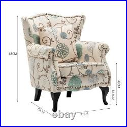 Floral Fabric Sofa Armchair Rivet Wing Back Accent Tub Chair Padded Lounge Seat