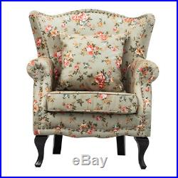 French Antique High Back Wing Armchair Fabric Accent Chair Sofas Suites Fireside