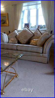 Gainsborough 3 seater sofa in gold regency stripe plus matching wing back chair
