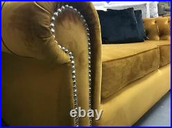 Gold Plush Velvet Chesterfield 3 Seater Sofa and Wing Chair