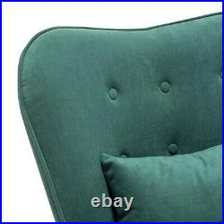 Green Velvet Armchair Wing Back Occasional Bedroom Lounge Chair Sofa Footstool