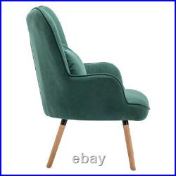 Green Velvet Armchair and Footstool Sofa Set Lazy Lounge Chair Wing Back Button