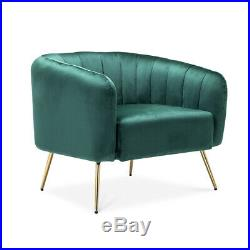 Green Velvet Channel Armchair Wing Back Sofa Accent Lounge Chair Padding Settee