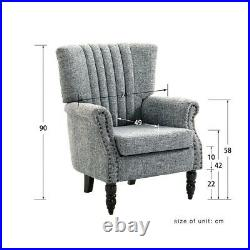 Grey Armchair Wing Back Fabric Sofa Chair Padded Seater Lounge Living Room Cafe