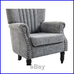 Grey Armchair Wing Back Fabric Sofa Single Chair Padded Seater Lounge Furniture