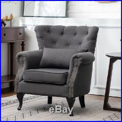 Grey Chesterfield Wing Back Scalloped Button Armchair Chair Lounge Sofa Fireside