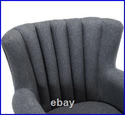 Grey Linen Armchair Wing Back Accent Chair Oyster Scallop Back Queen Anne Sofa
