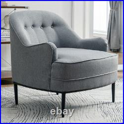 Grey Linen Fabric Sofa Wing Back Armchair Buttoned Accent Soft Chair Living Room