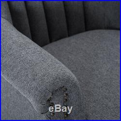 Grey Occasional Upholstered Fabric Armchair Cocktail Winged Tub Chair Fireside