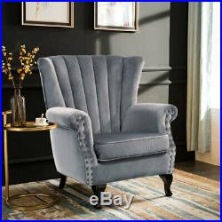 Grey Velvet Accent Tub Chair High Wing Back Fireside Armchair Padded Seat Sofa