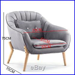 Grey Velvet Armchair Oyster Wing Back Tub Chairs Soft Seat Living Room Sofa Home