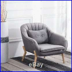 Grey Velvet Armchair Oyster Wing Back Tub Chairs Soft Seat Sofa Living Room Home