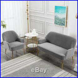 Grey Velvet Upholstered 2 Seater Sofa Couch Settee Wing Back Tub Chair Armchair